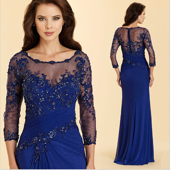 Royal Blue Prom Dresses,Beaded Prom Dress,Long Sleeve Evening Dress