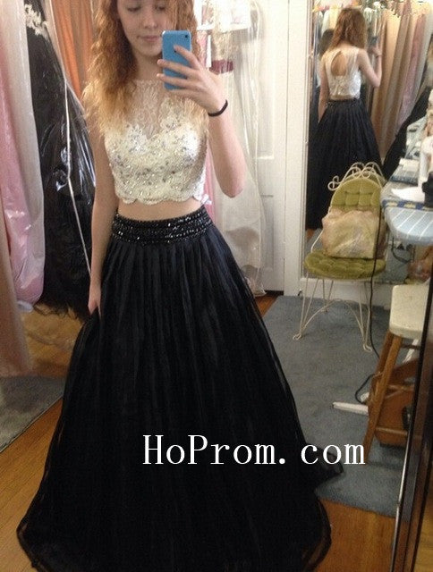 Black White Prom Dresses,Two Piece Prom Dress,Evening Dress