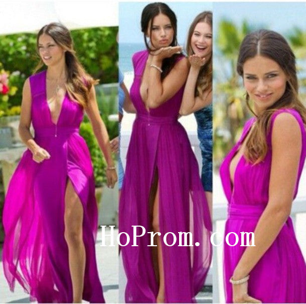 Purple Slit Prom Dresses,Chiffon Prom Dress,Evening Dress