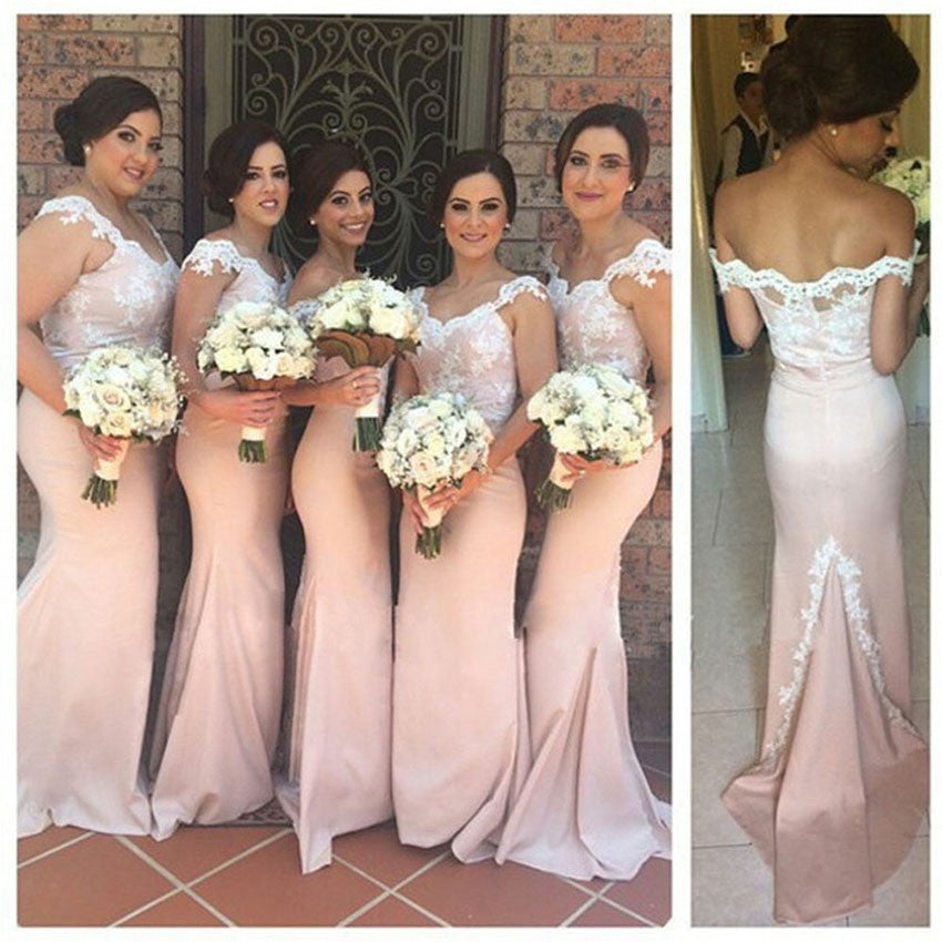Pink Bridesmaid Dresses,Lace Prom Dress,Mermaid Evening Dress