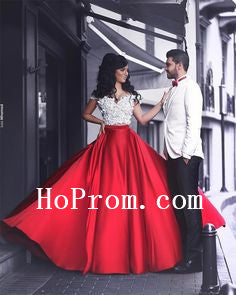 White Red Prom Dresses,Satin Prom Dress,Evening Dress