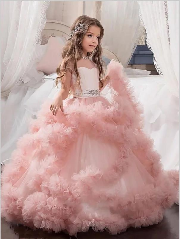 Ball Gown Tulle Jewel Crystal Floor Length Flower Girl Dresses With Bowknot