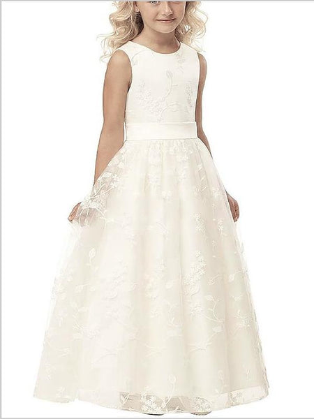 Applique Tulle Scoop Sleeveless Flower Girl Dresses Floor Length
