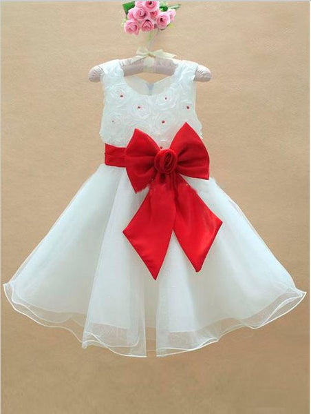 Long Organza Princess Scoop Sleeveless Flower Girl Dresses With Bowknot