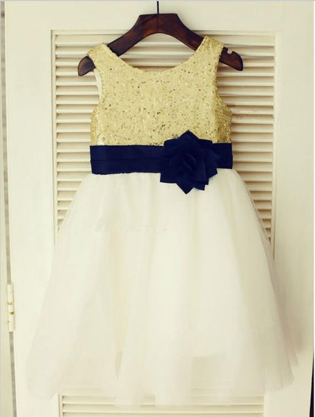 Tulle Princess Scoop Sleeveless Flower Dress Dresses With Hand-Made Flower