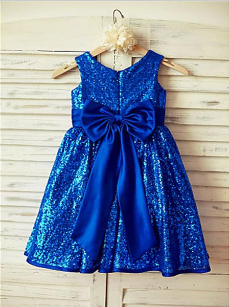Sequins Princess Scoop Sleeveless Flower Girl Dresses Tea Length With Bowknot