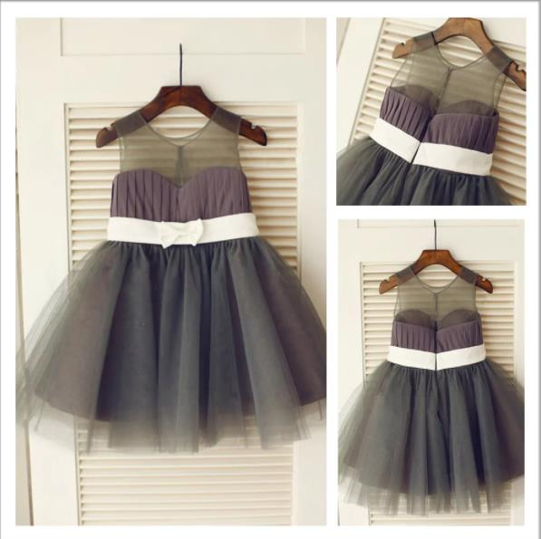 Long Tulle Princess Scoop Flower Girl Dresses With Bowknot