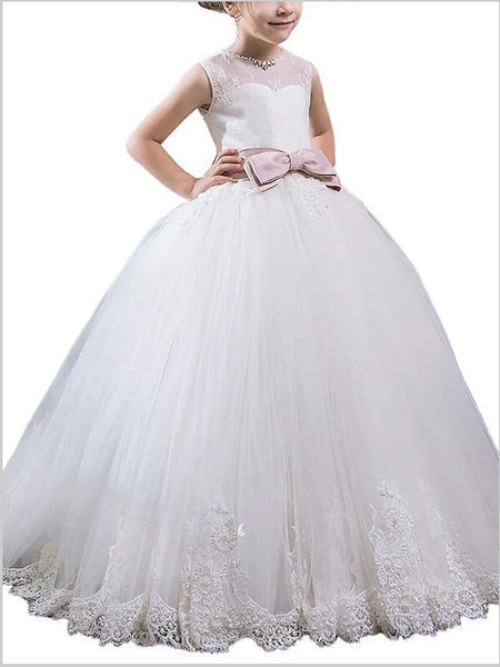 Tulle Scoop Sleeveless Flower Girl Dresses Floor Length Ball Gown With Bowknot