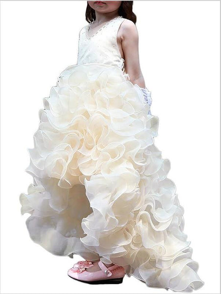 Organza Ruffles V-neck Asymmetrical Flower Girl Dresses With Bowknot
