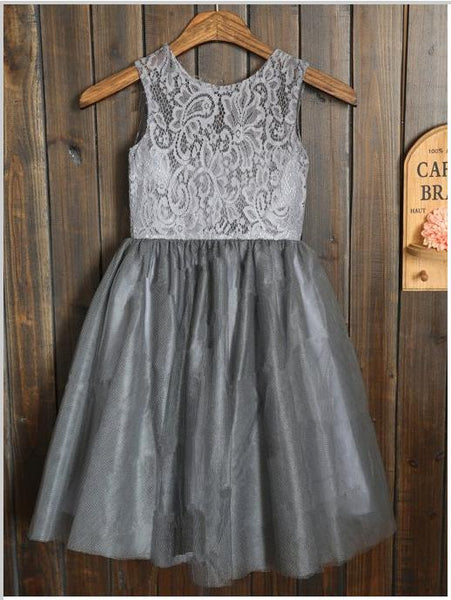 Tulle Lace Princess Sleeveless Scoop Long Flower Girl Dresses