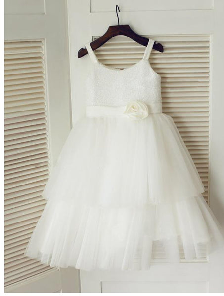 Long Tulle Princess Spaghetti Straps Flower Girl Dresses With Hand-Made Flower