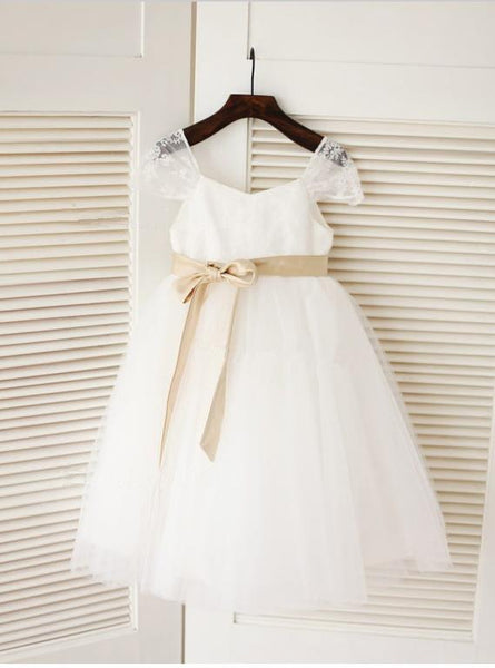 Long Tulle Scoop Sleeveless Flower Girl Dresses Ball Gown With Bowknot