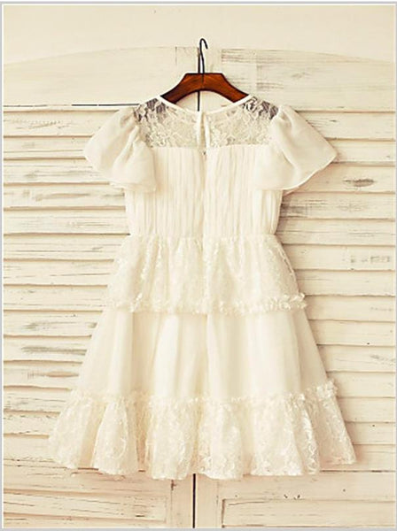 Lace Chiffon Princess Scoop Short Sleeves Flower Girl Dresses Floor Length Dress