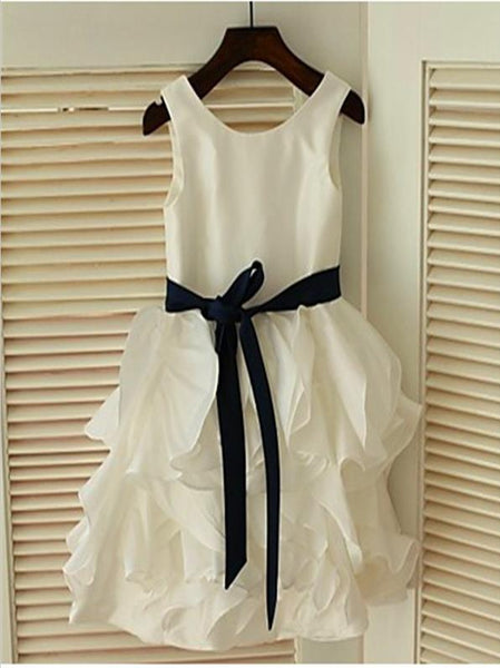 Chiffon Princess Sleeveless Scoop Flower Girl Dresses With Bowknot