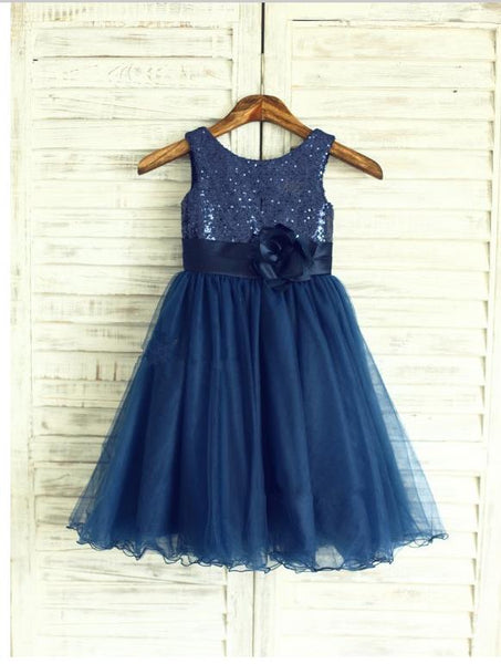 Organza Princess Scoop Sleeveless Flower Girls Dresses With Hand-Made Flower