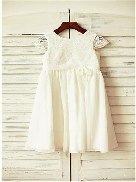 Lace Chiffon Princess Scoop Short Sleeves Flower Girl Dresses Floor Length