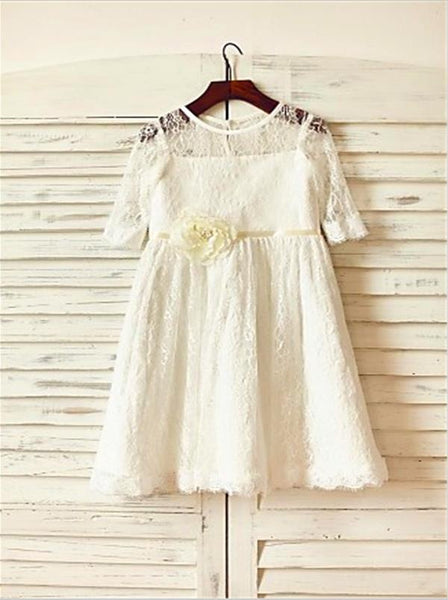 Lace Princess Scoop 3/4 Sleeves Ankle-Length Flower Girl Dresses With Hand-made Flower