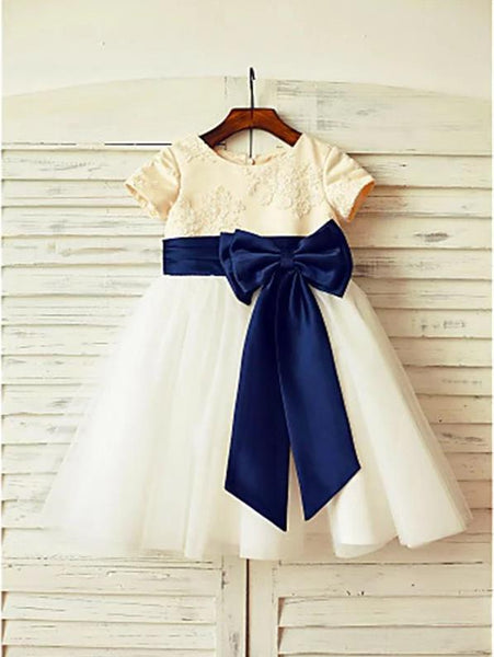 Tulle Princess Scoop Short Sleeves Flower Girl Dresses Floor Length Dress With Bowknot