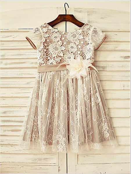 Lace Princess Scoop Short Sleeves Flower Girl Dresses With Hand-made Flower