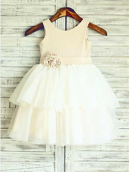 Tulle Princess Straps Sleeveless Flower Girl Dresses With Hand-made Flower