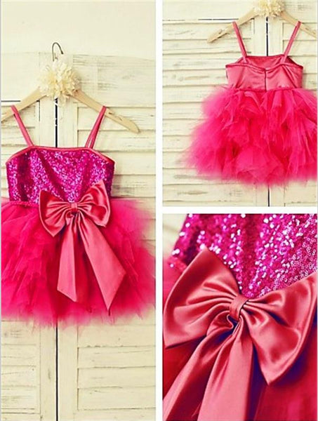 Sequin Princess Spaghetti Straps Flower Girl Dresses Tea Length Dress With Bowknot