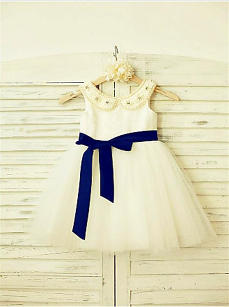 Tulle Princess Scoop Sleeveless Flower Girl Dresses Tea Length Dress With Bowknot