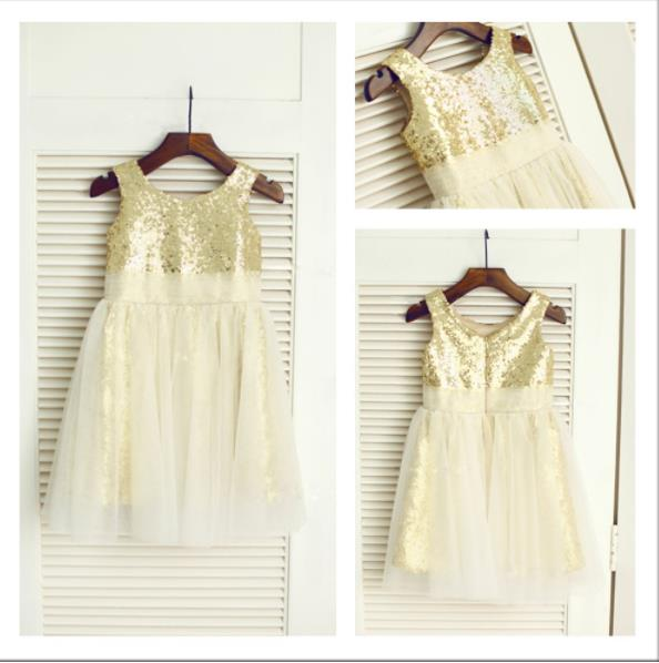 Tulle Princess Scoop Sleeveless Sequin Flower Girl Dresses