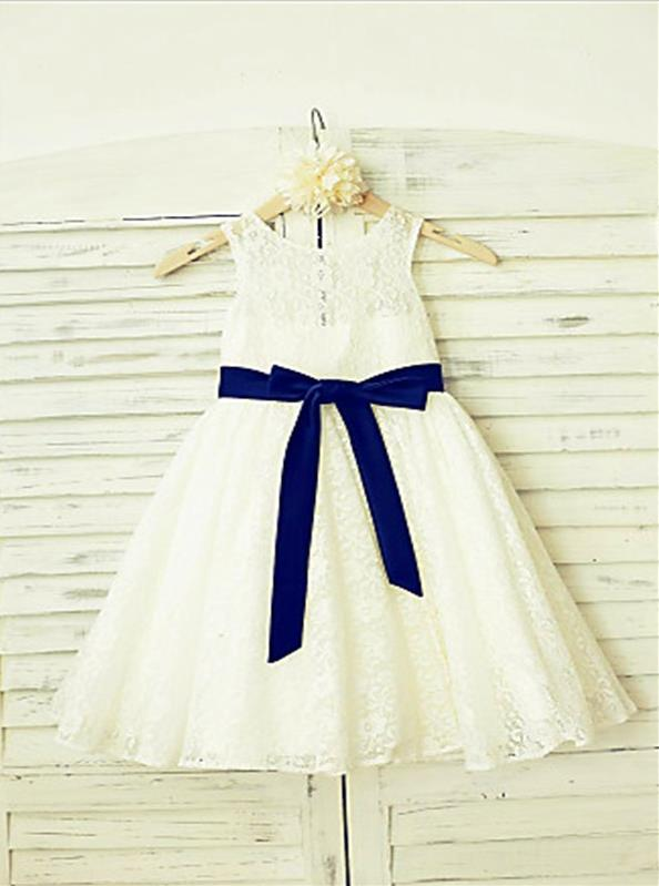 Lace Princess Scoop Sleeveless Flower Girl Dresses Floor Length Dress With Bowknot