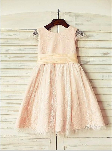 Lace Princess Scoop Short Sleeves Flower Girl Dresses Floor Length Dress