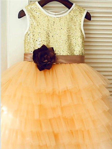 Princess Sequin Tulle Sleeveless Flower Girl Dresses With Hand-Made Flower
