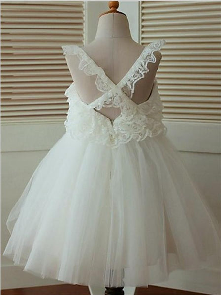 Organza Straps Ruffles Princess Tea-Length Flower Girl Dresses