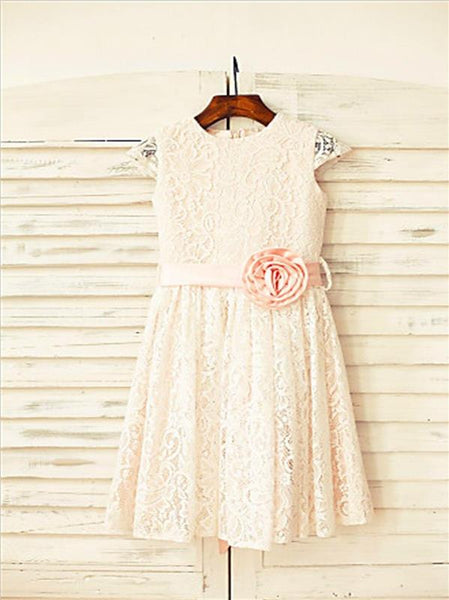 Lace Princess Scoop Short Sleeves Flower Girl Dresses Floor Length With Hand-made Flower