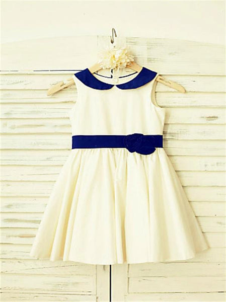 Satin Princess Scoop Sleeveless Flower Girl Dresses Tea Length Dress With Hand-made Flower