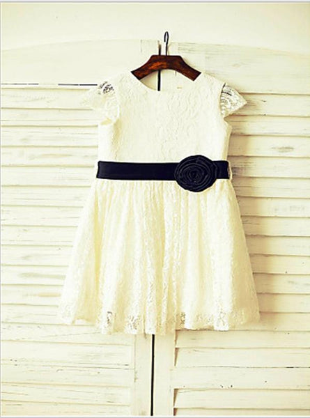 Lace Princess Scoop Short Sleeves Flower Girl Dresses Tea Length Dress Hand-made Flower