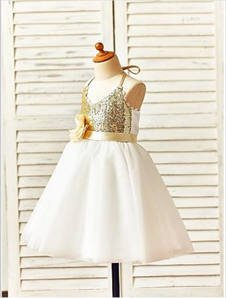 Tulle Spaghetti Straps Sequin Flower Girl Dresses With Hand-Made Flower