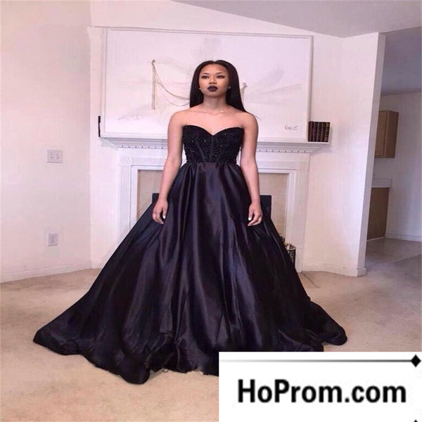 Sweetheart Black A-Line Prom Dress Evening Dresses