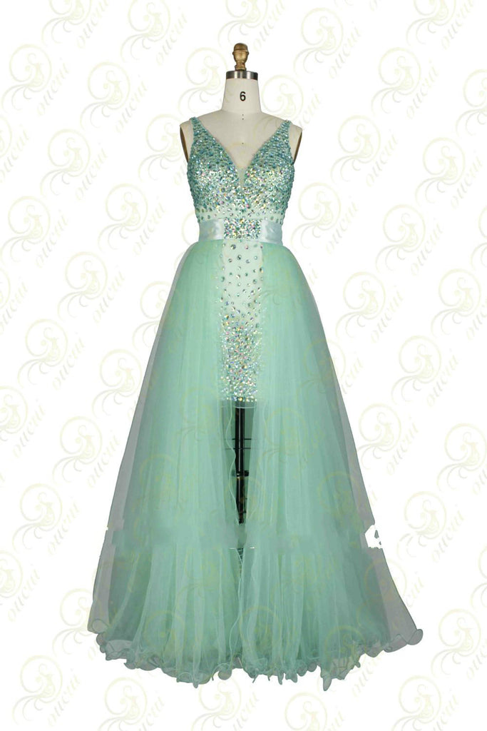 Twinset Tulle Prom Dresses,Green Prom Dress,Evening Dress
