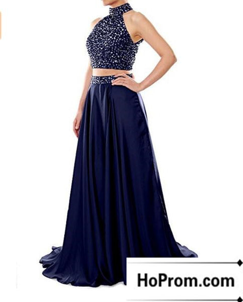 Two Piece A-Line Beading Prom Dress Evening Dresses