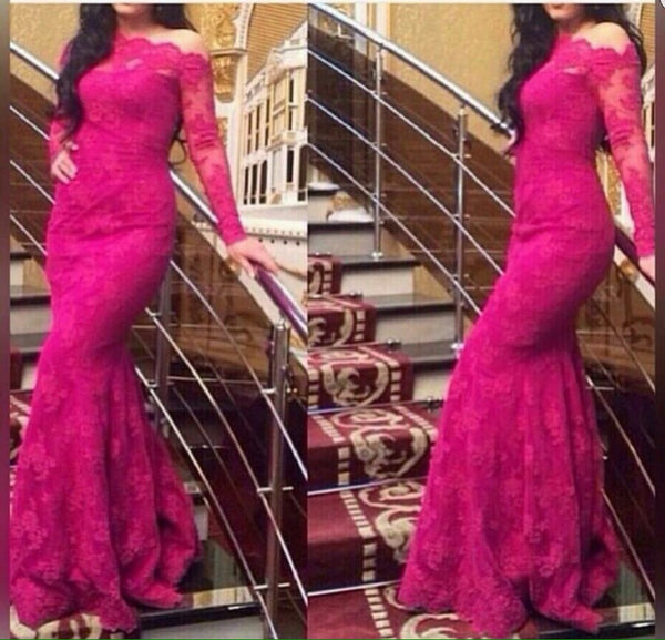 Lace Pink Prom Dresses,Long Sleeve Prom Dresses,Evening Dress