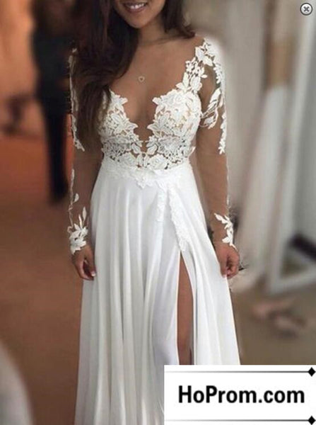 Long Sleeve White Lace Prom Dress Evening Dresses