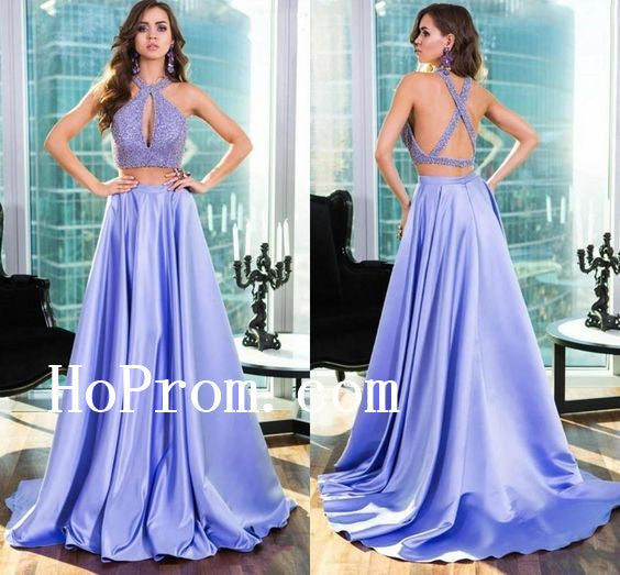 Lavender Beaded Prom Dresses,Two Piece Prom Dress,Evening Dress