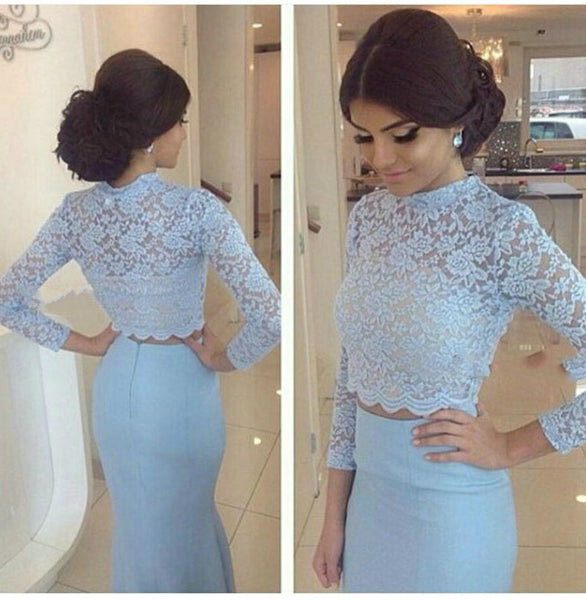 Light Blue Prom Dresses,Lace Prom Dress,Evening Dress