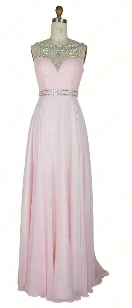 Pink Prom Dresses,Backless Prom Dress,A-Line Evening Dress