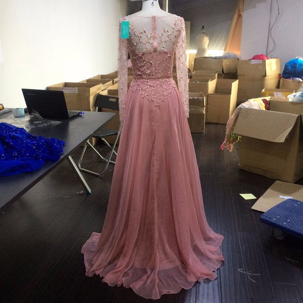 Beading Pink Prom Dresses,A-Line Prom Dress,Evening Dress