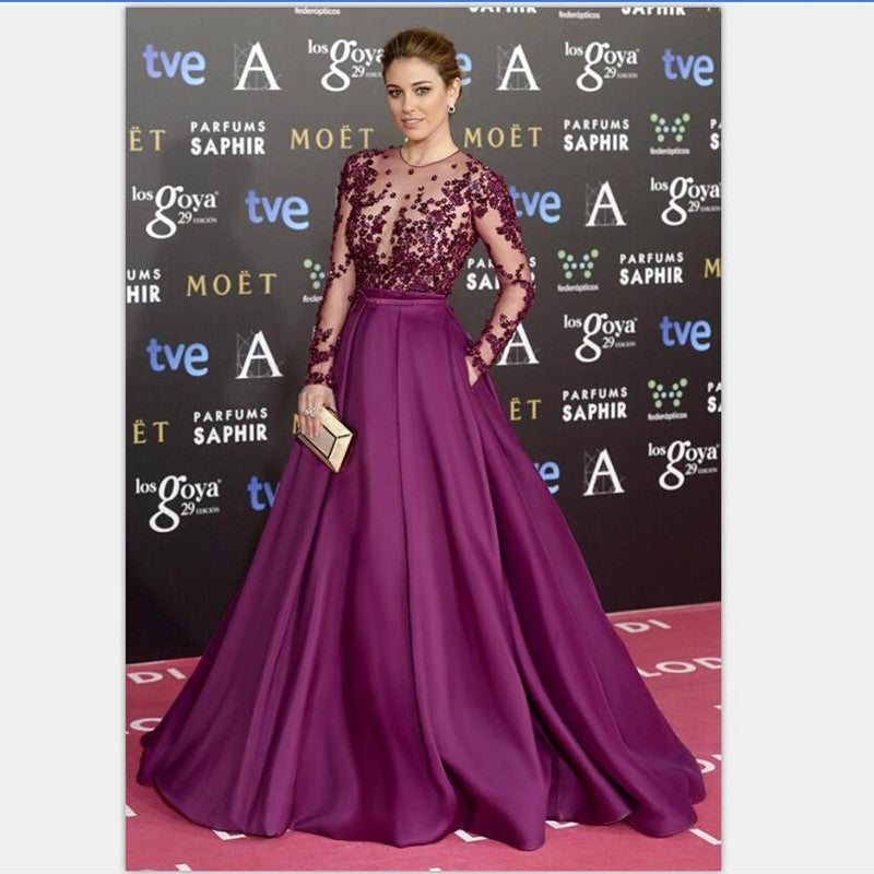 A-line Prom Dresses,Beaded Prom Dress,Long Sleeve Evening Dress