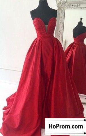 Strapless Red A-Line Prom Dress Evening Dresses