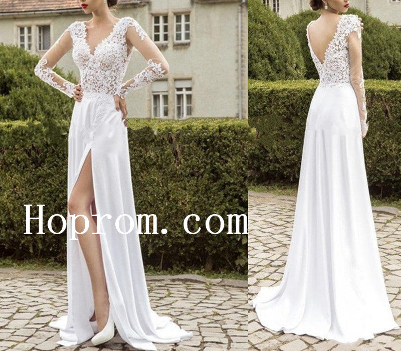 Lace Chiffon Wedding Dresses,White A-Line Prom Dress,Evening Dress