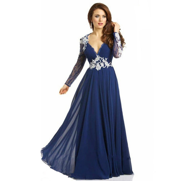 V-Neck Prom Dresses,Long Sleeve Prom Dress,Evening Dress
