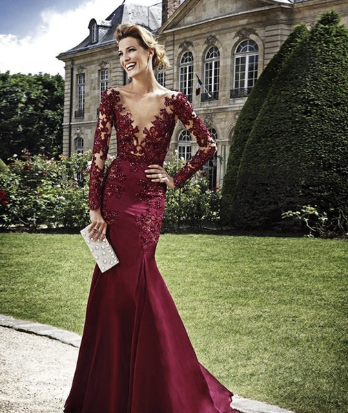 Sexy Burgundy Prom Dresses,V-Neck Prom Dress,Evening Dress
