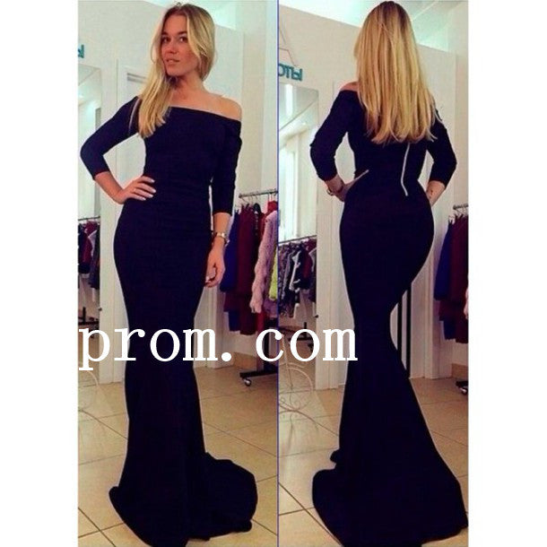 Simple Black Prom Dresses,Long Sleeve Prom Dress,Evening Dress